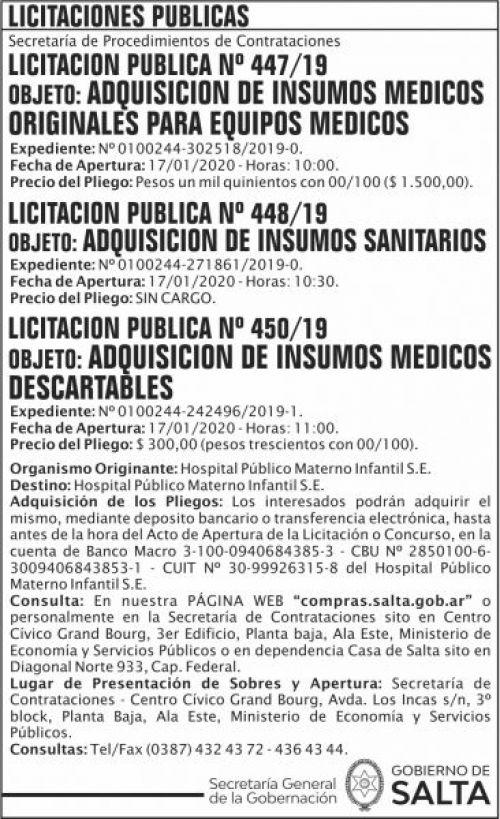 Licitación: Licitacion Publica 447 448 450 SGG HPM
