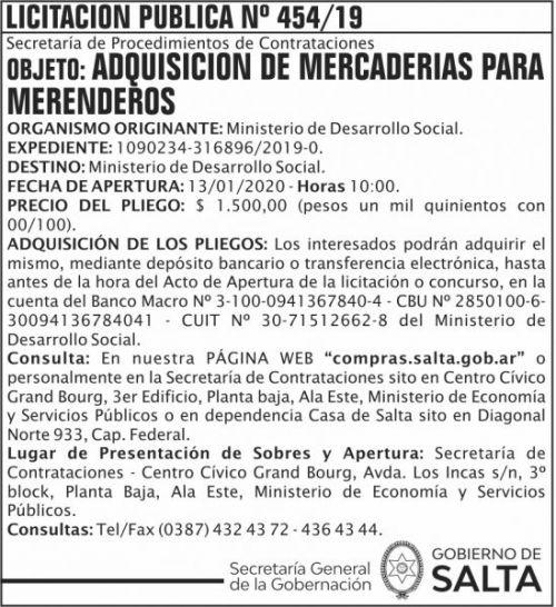 Licitación: Licitacion Publica 454 SGG MDS