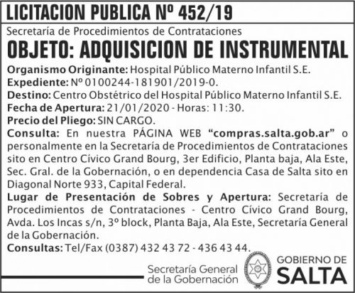 Licitación: Licitacion Publica 452 SGG HPMI