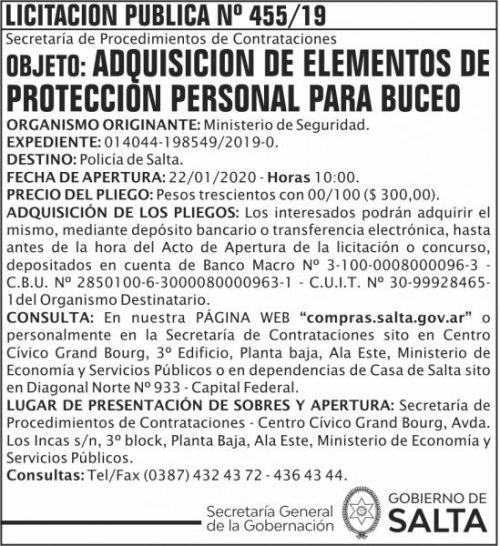 Licitación: Licitación Publica 455 SGG MS