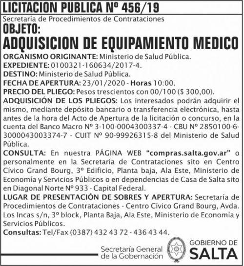Licitación: Licitación Publica 456 SGG MSP
