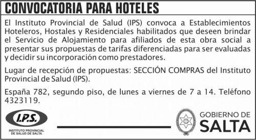 Licitación: Convocatoria para Hoteles 2020 IPS