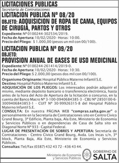 Licitación: Licitacion Publica 08 Y 09 SGG HPMI
