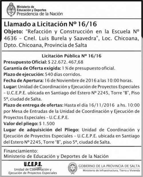 Licitación: Refacción y Construcción de Escuela N°4636