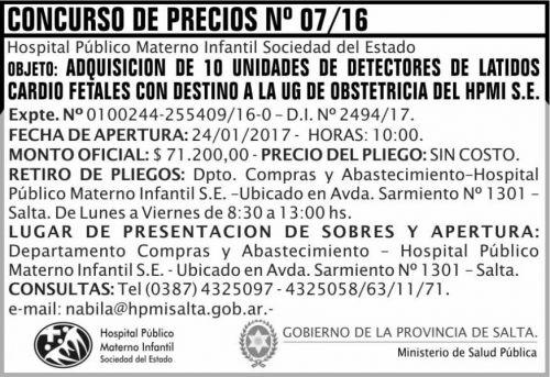 Compra Directa: CONCURSO DE PRECIO N 07/16