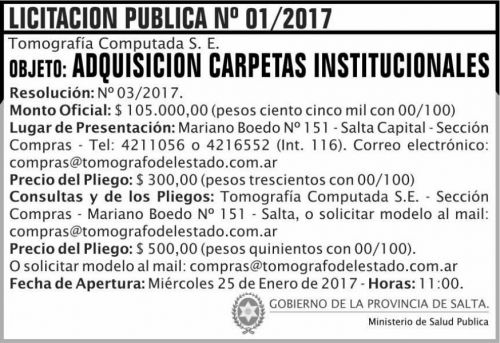 Licitación: LICITACION PUBLICA 01/2017