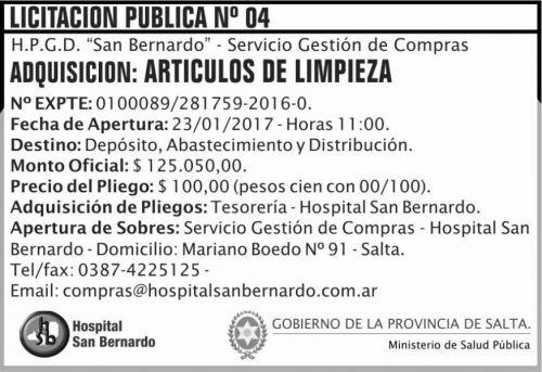 Licitación: LICITACION PUBLICA 04/2017