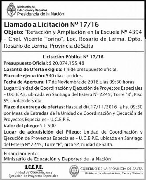 Licitación: Refacción y ampliación de Escuela N°4394