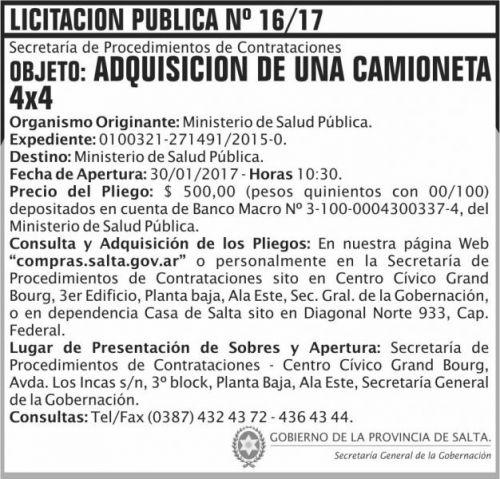 Licitación: LICITACION PUBLICA N° 16/17