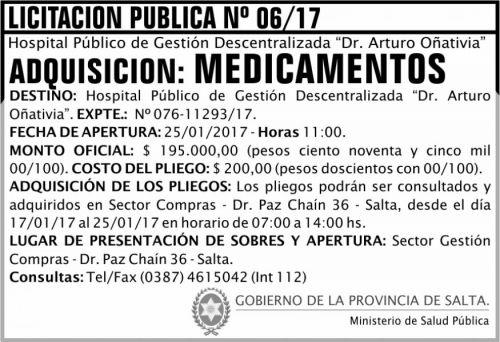 Licitación: LICITACION PUBLICA N° 06/17