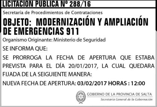 Licitación: LICITACION PUBLICA N° 288/16