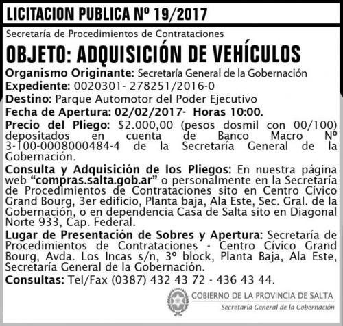 Licitación: LICITACION PUBLICA N° 19/17