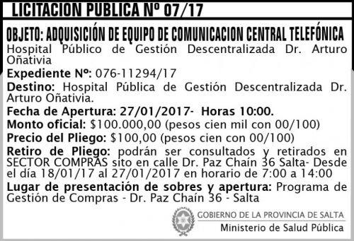 Licitación: LICITACION PUBLICA N° 07/2017