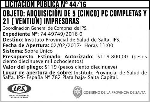 Licitación: LICITACION PUBLICA N° 44/16