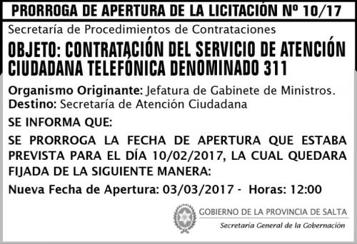 Licitación: Prorroga de Apertura de Licitación Pública Nº 10/17
