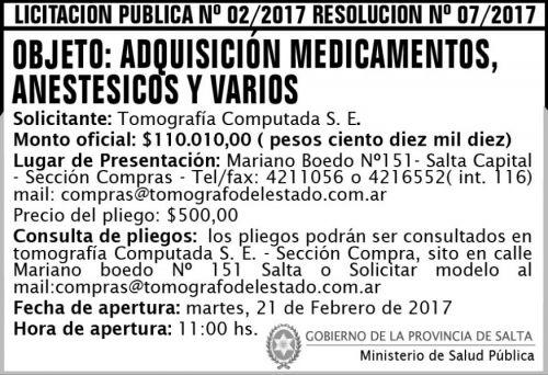 Licitación: Licitación Pública Nº 02/2017 - Resolución 07/2017
