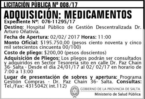 Licitación: Licitación Pública Nº 008/17