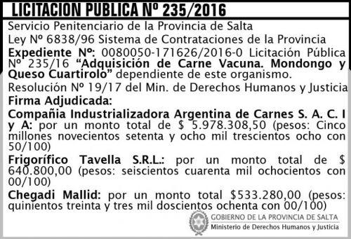 Licitación: Licitación Pública Nº 235/2016