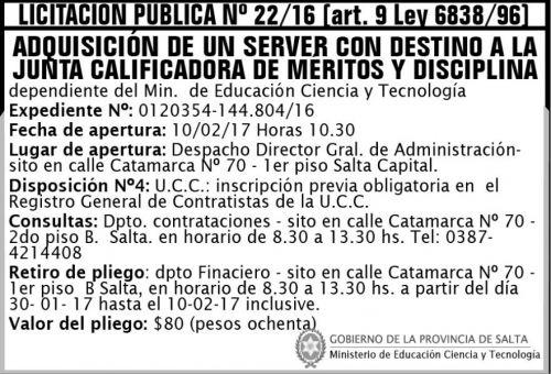 Licitación: Licitación Pública Nº 22/16 (art. 9 Ley Nº 6838/96)