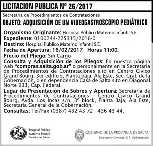 Licitación: Licitación Pública N° 26/2017