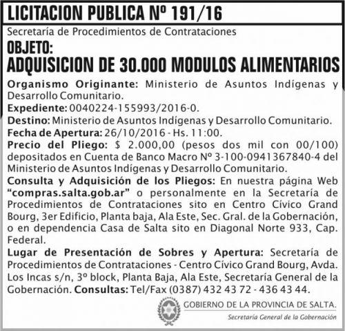 Licitación: Adquisición de 30.000 módulos alimentarios