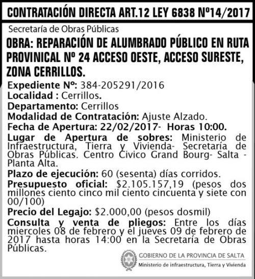 Edictos / Comunicados: Contrataciòn Directa Art. 12 Ley 6838 Nº 14/2017