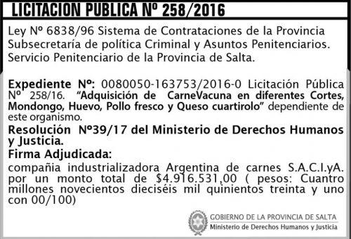 Licitación: Licitación Pública Nº 258/2016