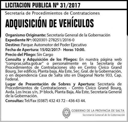 Licitación: Licitación Pública Nº 31/2017