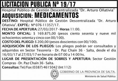 Licitación: Licitación Pública 19 MSP Oñativia