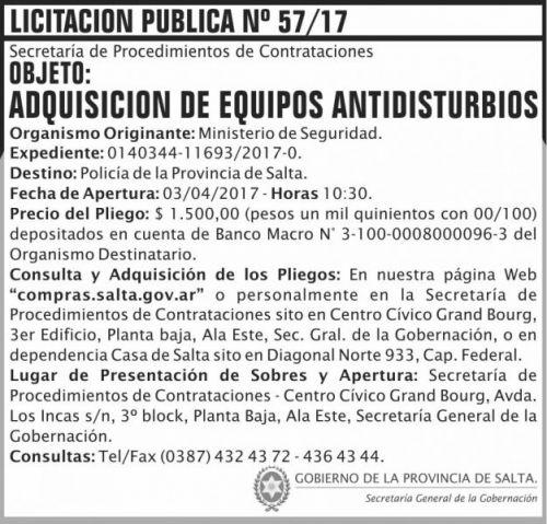 Licitación: Licitacion Publica 57 SGG MS