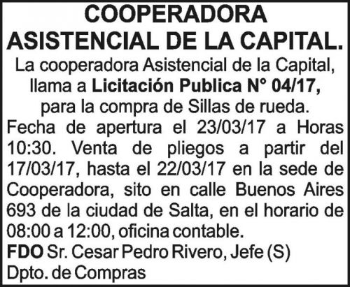 Licitación: Licitación Publica N° 04/17 COOPERADORA ASISTENCIAL DE LA CAPITAL