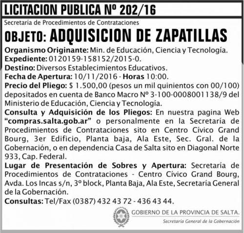 Licitación: Licitación Pública Nº 202/16