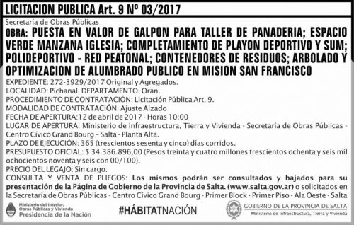Licitación: Licitacion Publica Art 9 Nº 03/2017 MITV