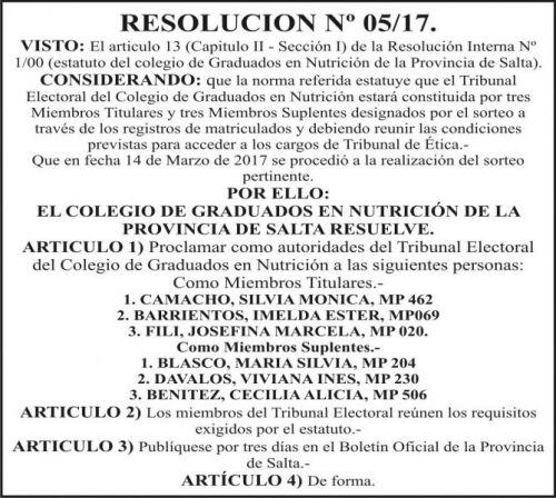 Edictos / Comunicados: RESOLUCION Nº 05-17