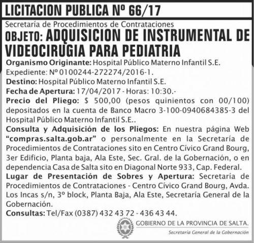 Licitación: Licitacion Publica 66/17