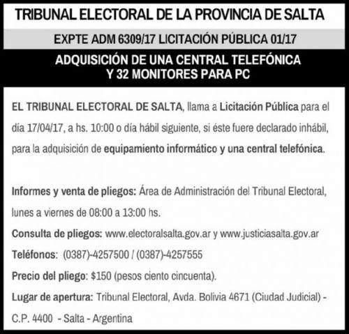 Licitación: LICITACION PÚBLICA Nº 01/17 TRIBUNAL ELECTORAL
