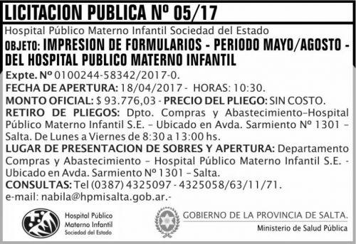Licitación: Licitacion Publica 05 MSP HPMI