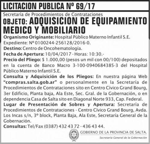 Licitación: Licitacion Publica 69/17 SGG HPMI