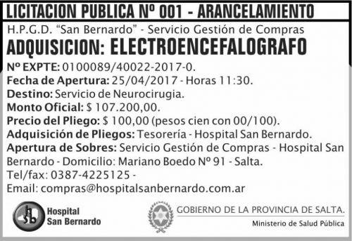 Licitación: Licitacion Publica 01/17 ARANCELAMIENTO MSP SB