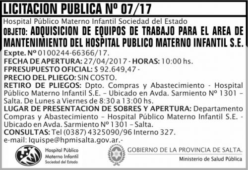 Licitación: Licitacion Publica 07/17 MSP HPMI