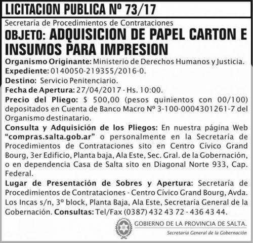 Licitación: Licitacion Publica 73/17 SGG MDHJ