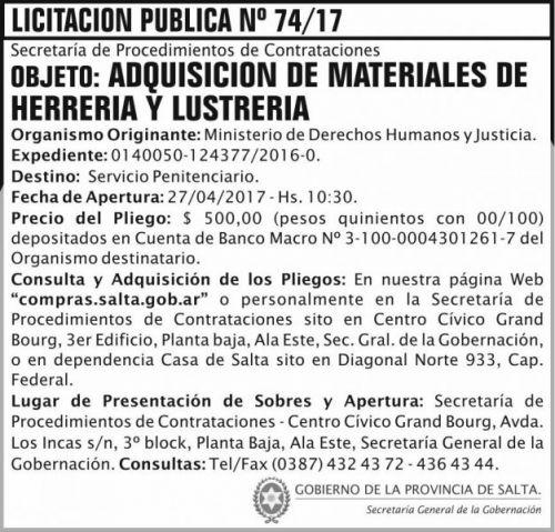 Licitación: Licitacion Publica 74/17 SGG MDHJ