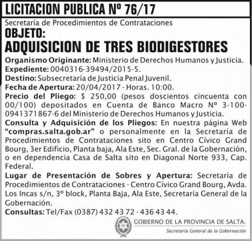 Licitación: Licitacion Publica 76/17 SGG MDHJ