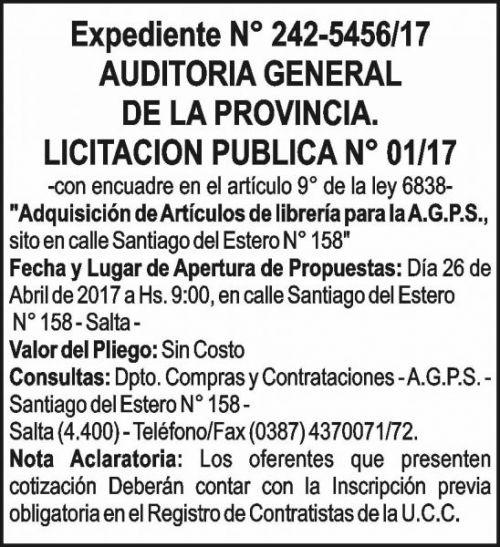Licitación: AUDITORIA GENERAL DE LA PROVINCIA