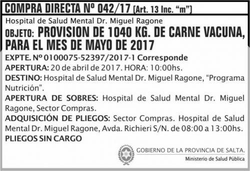 Compra Directa: Compra Directa 42/17 MSP Ragone
