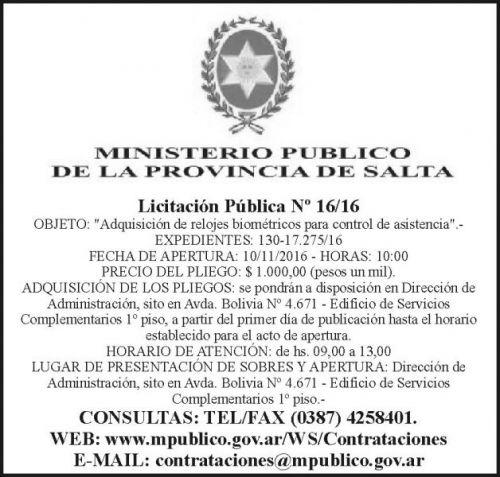 Licitación: Licitación Pública Nº 16/16
