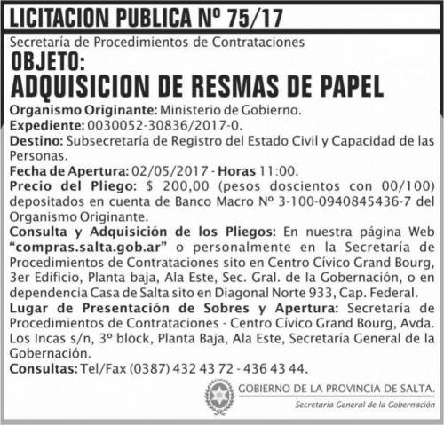 Licitación: Licitacion Publica 75/17 SGG MG