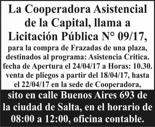 Licitación: Licitación Pública N° 09/17 Cooperadora Asistencial de la Capital