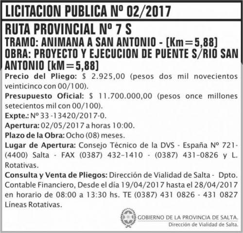 Licitación: Licitacion Publica 02/17 DVS