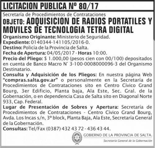 Licitación: Licitacion Publica 80/17 SGG MS
